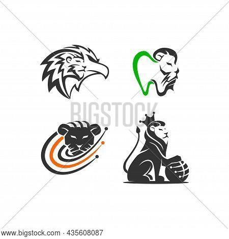 Lion Variation Illustration Emblem Mascot Design Template Set