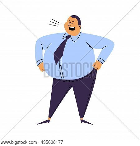 Screaming Man Isolated. Cartoon Fat Man Stands Akimbo. An Irritated Person In A Blue Shirt And Trous