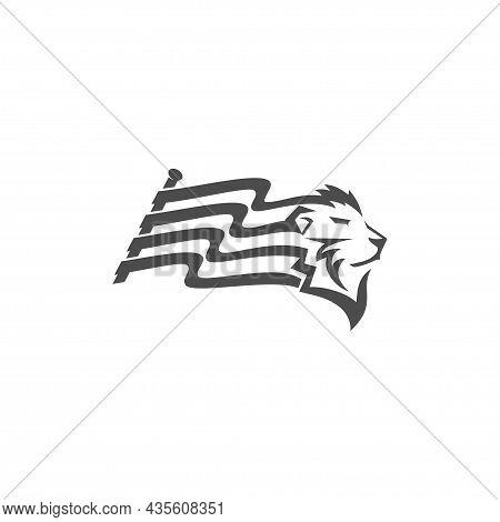 Lion Head Flag Illustration Emblem Mascot Design Template