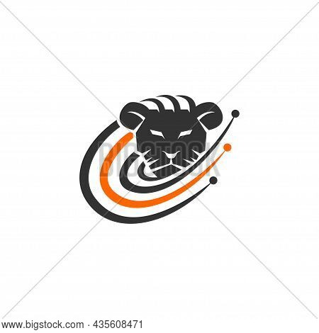 Lion Head Technology Illustration Emblem Mascot Design Template