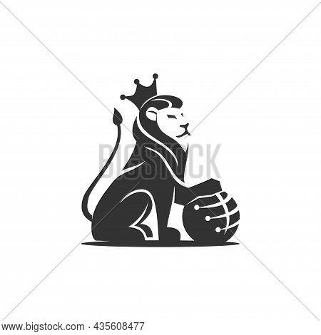 Lion Holding Globe Technology Illustration Emblem Mascot Design Template