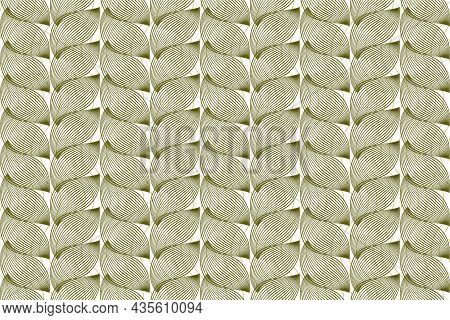 Vector Graphic Of Seamless Linocut Leaves Pattern In Green Color. Design For Banknote, Ticket, Certi