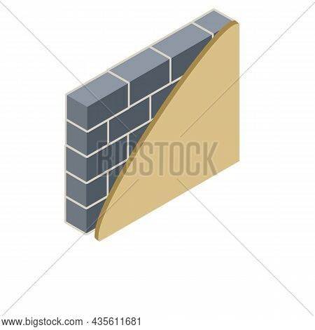 Brick Wall In Isometry With Layers Of Plaster And Insulation. Material For Home Repair. Construction