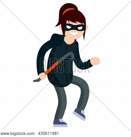 Thief With Crowbar. Female Offender Sneaks. Cartoon Flat Illustration. Criminal Problem. Woman Robbe