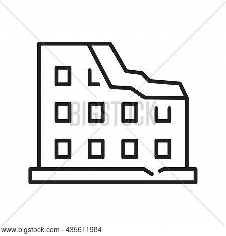 Monochrome Destroyed Building Line Icon Vector Illustration. Linear Damage Destruction Effect