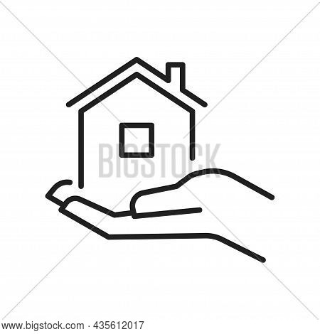 Housing Provision Concept Monochrome Line Icon Vector Illustration. Human Hand Hold House