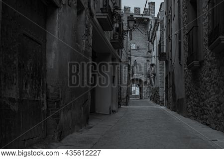 Black White Picture Of The Fortified Town Montblanc In Tarragona, Catalunya, Spain