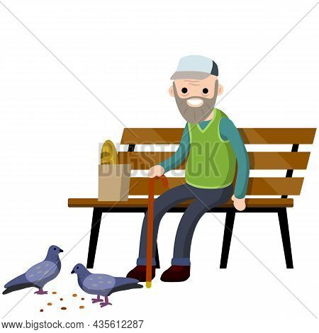 Man Sits On Bench And Feeds Pigeons. Element Of Park And City. Cartoon Flat Illustration. Grandfathe