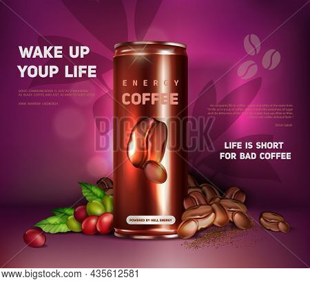 Black Coffee Ad Design. Energy Coffee Drink In Tin Can. Natural Cocoa Extract. Realistic Template Fo