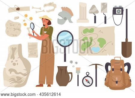 Archaeological Stickers. Archaeologist Woman With Map, Magnifying Glass And Backpack Looking For Rem