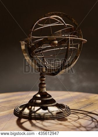 3D rendering of vintage World map globe on wooden stand over dark brown background. Some elements of the image furnished from Public Domain library