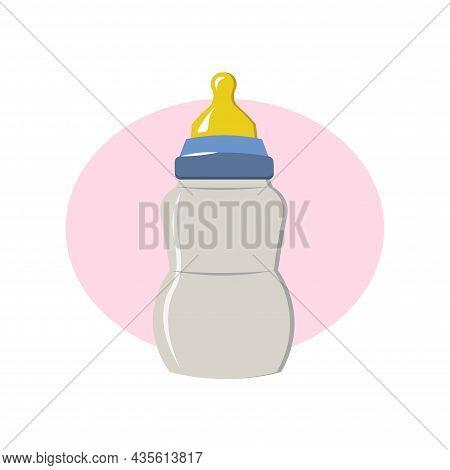 Feeding Bottle Isolated Illustration. Feeding Bottle Flat Icon On White Background. Feeding Bottle C