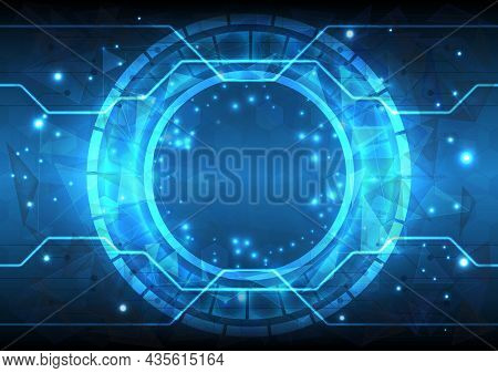 Futuristic Sci-fi Glowing Hud Circle Element. Abstract Hi-tech Background. Hologram Particle Of Head