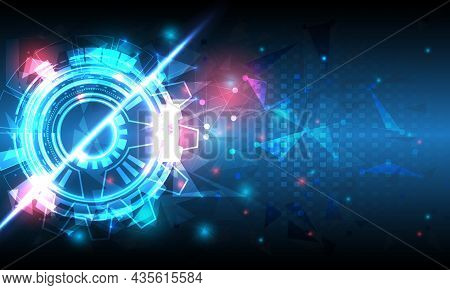 Futuristic Sci-fi Glowing Hud Circle Element. Abstract Hi-tech Background. Hologram Polygon Particle