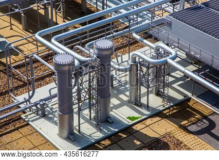 Smoking Pipes Of Thermal Power Plant. Chimney Of Thermal Power Plant.