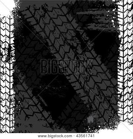 Grunge tire track backgound