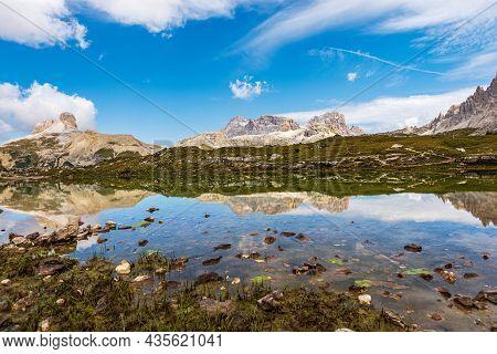 Small Lake And Sexten Or Sesto Dolomites From Tre Cime Di Lavaredo Or Drei Zinnen, Dolomiti Di Sesto