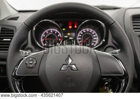 Novosibirsk, Russia - August 31, 2021:  Mitsubishi Asx,  Cockpit Interior Cabin Details, Speedometer
