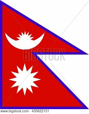 The National Flag Of Nepal Officially The Federal Democratic Republic Of Nepal Is In South Asia