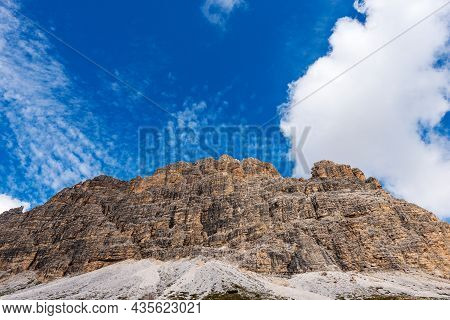 South Face Of Drei Zinnen Or Tre Cime Di Lavaredo (three Peaks Of Lavaredo), Famous Mountain Peaks O