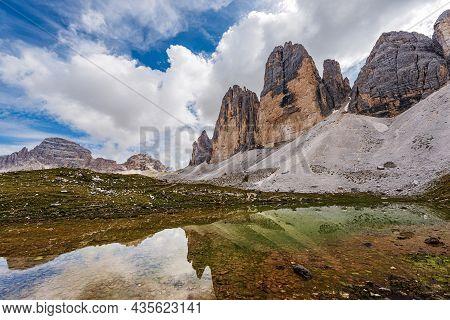 Drei Zinnen Or Tre Cime Di Lavaredo (north Face), Monte Paterno Or Paternkofe And Lake. Mountain Pea