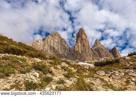 The Drei Zinnen Or Tre Cime Di Lavaredo (three Peaks Of Lavaredo), South Face, The Famous Mountain P