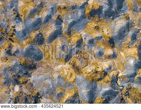 Contaminated Surface Of Spoil Heaps From Mining At Abandoned Pyrite Mine. Colorful Texture, Aerial V