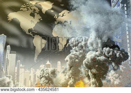 Big Smoke Column With Fire In The Modern City - Concept Of Industrial Catastrophe Or Terrorist Act O