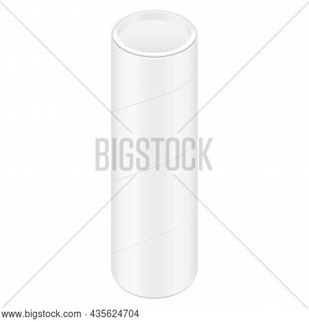 Nockup Cardboard Paper Tube Tubus Cilinder Box Container Packaging. Food, Gift Products. Illustratio