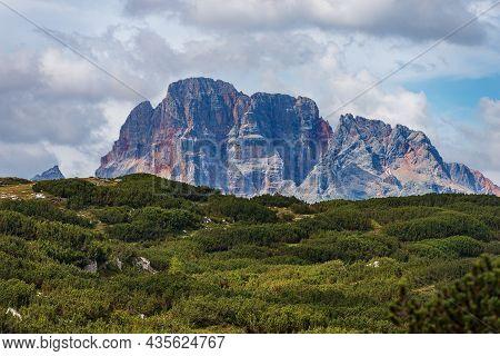 Mountain Peak Of Croda Rossa D'ampezzo Or Hohe Gaisl (3146 M.) Seen From The Drei Zinnen Or Tre Cime