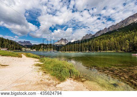 Lake Misurina, Mountain Peaks Of Tre Cime Di Lavaredo, Cadini Di Misurina, Monte Rudo Or Rautkofel A