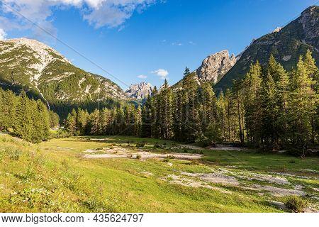 Landro Valley (val Di Landro), Peaks Of Sesto, Braies And Ampezzo Dolomites. Monte Piana Or Monte Pi