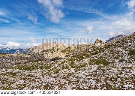 Panorama Of The Sesto Or Sexten Dolomites From Tre Cime Di Lavaredo (three Peaks Of Lavaredo). Unesc