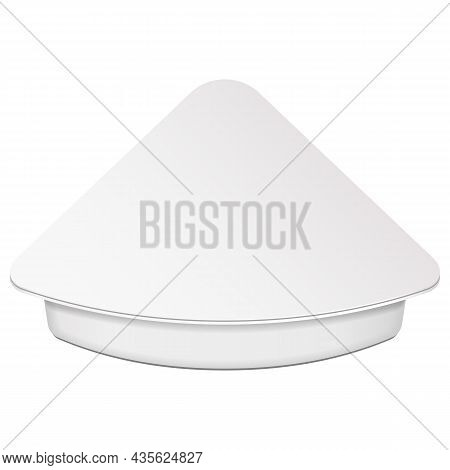 Mockuptriangle Empty Blank Cheese, Curd Plastic Food Tray Container Box Opened, Cover. Illustration