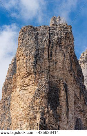 Rock North Face Of The Drei Zinnen Or Tre Cime Di Lavaredo (three Peaks Of Lavaredo), The Famous Mou