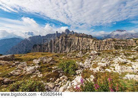 Mountain Range Of Cadini Di Misurina And Peak Of Monte Cristallo Seen From Tre Cime Di Lavaredo, Ses