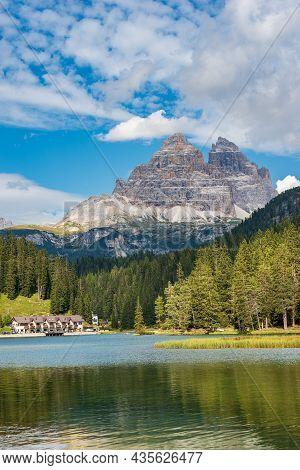 Lake Misurina (lago Di Misurina) And The Three Peaks Of Lavaredo (drei Zinnen Or Tre Cime Di Lavared
