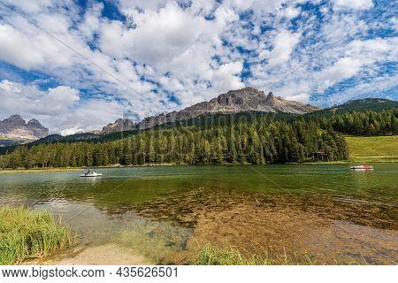 Lake Misurina (lago Di Misurina), Drei Zinnen Or Tre Cime Di Lavaredo And Mountain Range Of Cadini D