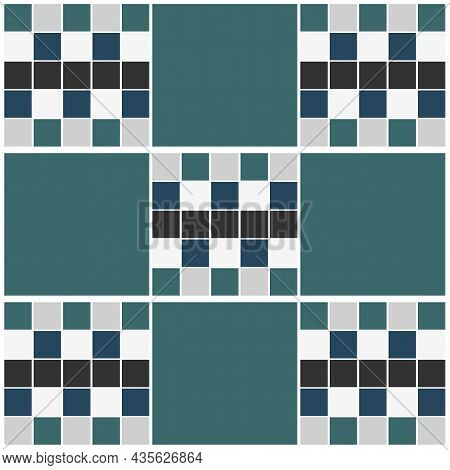 Blue And Green Geometric Square Tile Background. Tile Texture