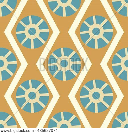 Abstract Stylized Sun And Waves Seamless Vector Pattern Background. Ancient Egypt Inspired Gold Blue