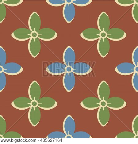 Simple Medieval Style Stylized Flowers Vector Pattern Background. Hand Drawn Blue Green Floral Motif