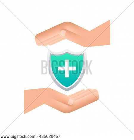 Health Insurance. Hands Holding Insurance Sign. Medical Protection, Medical Insurance Concepts. Flat