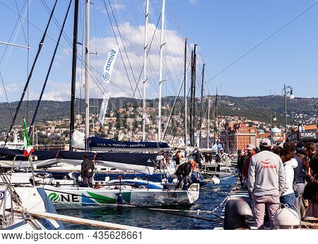 Trieste, Italy - October, 09: The Sailboats Are Docked In The Rive Pier During 53° Barcolana Regatta