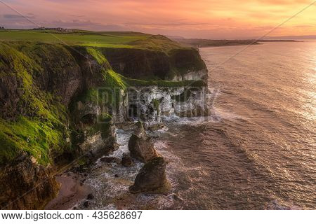 Beautiful White, Limestone Cliffs Seen From Magheracross Viewpoint At Dramatic Sunset, Bushmills, No