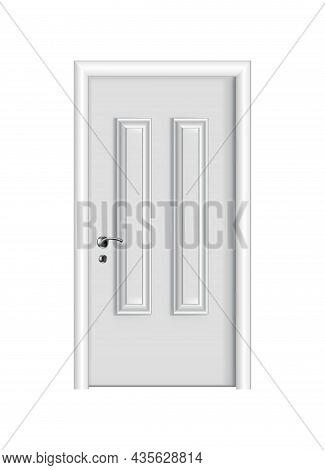Closed White Entrance. Realistic Door With Frame Isolated On White Background. Clean Design White Do