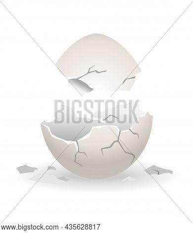 Cracked Egg. Eggshell Cracking Stage. Realistic Chicken Egg With Broken Eggshell. Design Element Of