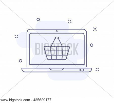 Online Purchase Outline Vector Illustration Isolated On White. Laptop With Basket Purple Line Icon W