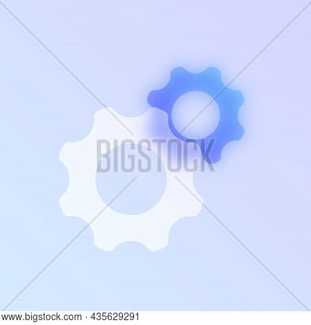 Gears Glass Morphism Trendy Style Icon. Gear Wheels Color Vector Icon With Blur, Transparent Glass A