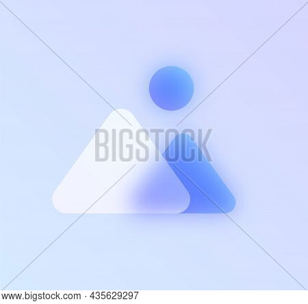 Mountains Glass Morphism Trendy Style Icon. Mountains Image Color Vector Icon With Blur, Transparent