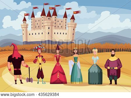 Medieval King And Queen, Jester, Executioner On Fairytale Medieval Castle Background. Cartoon Middle